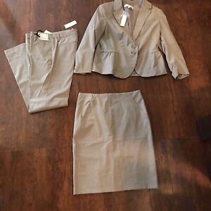 NWT 3pc Striped Light Brown Suit by Ann Taylor Jacket Sz 8 Skirt Sz 4 Pants Sz 4