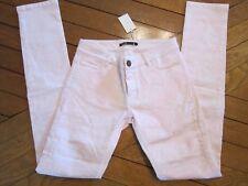 Pantalon jeans slim rose et blanc 36 MAJE NEUF