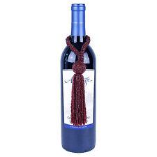 BURGUNDY RED BEADED TASSEL WINE BOTTLE ORNAMENT, NEW