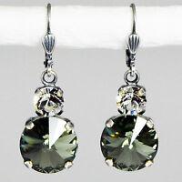 Ohrringe Ohrhänger Silber Altsilber Swarovski Kristall Rund - Black Diamond grau