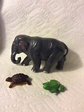 3 OLD CELLULOID TOY CHRISTMAS VILLAGE PUTZ ANIMALS-TURTLE FROG ELEPHANT