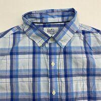 Croft & Barrow Button Up Shirt Men's Medium Short Sleeve Plaid Easy Care Casual