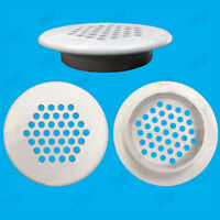 2x White Vivarium Reptile Push Fit Round 48mm Air Vents, 35mm Hole, Ventilation