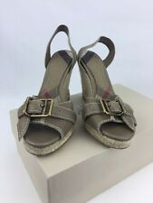 Burberry Leather Dark Stone Wedges Shoes Size UK 4 New RRP £299