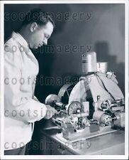 Optometrist Using Vintage Syncromatic Edger Shaping Lens Press Photo