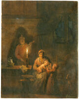 Antique Drawing-FAMILY BY CANDLELIGHT-Craeyvanger-pre-1859