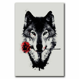 274118 Wolf Wild Nature Animals Red Rose Pop POSTER PRINT WALL FR