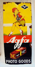OLD #!1910's VINTAGE RARE ORIGINAL AGFA PHOTO FILM PORCELAIN SIGN CAMERA GIRL AD