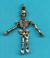 2 Cham Dancing Skeleton Metal Charm Tibetan Nepalese Buddhist, wholesale lot