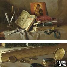 "39""x23"" OLD BOOKS I by IGOR BELKOVSKIJ MUSEUM RELIGIOUS STILL LIFE Repro CANVAS"