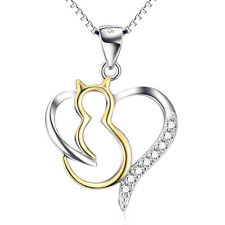 925 Sterling Silver 14k Gold Cat Open Heart Necklace Crystal CZ Animal Pendant