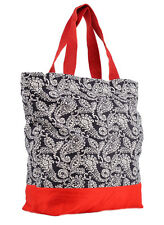 Elegante 50s Paisley Retro Bag Shopper Borsa Rosso Rockabilly