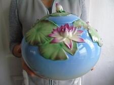 """Rare Boxed Huge Franz Porcelain Lotus Design 00162 Biscuit Cookie Jar & Cover 9"""""""
