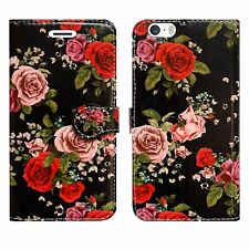 Leather Luxury Wallet Book Flip Phone Protect Case for Apple iPhone 6 6s Roses Blossom on Black - Large Petals Flowers Flor
