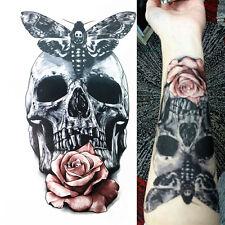 3stk 3D temporäre Tattoos Rose Skull Body Tattoo Sticker Fake Tattoo Aufkleber