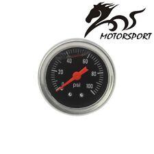 Fuel Pressure Regulator gauge 0-100 PSI Liquid Fill chrome fuel/oil Gauge