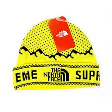 NWT Supreme x The North Face Yellow Mountain Logo Knit Beanie Hat FW18 AUTHENTIC
