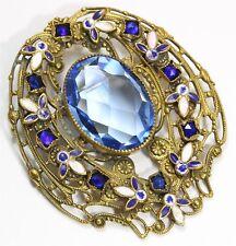 Vintage Art Deco Ornate Czech Sapphire Glass Rhinestone Enamel Scroll Brooch Pin