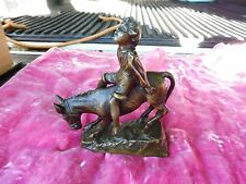 SIGNED MINIATURE BRONZE  YOUNG BOY ON DONKEY SIGNED SCHMIDT FELLING GAY INTEREST