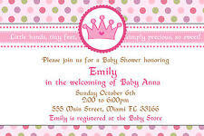30 Princess Invitation Cards Pink Green Purple Polka Dot Baby Girl Shower A1