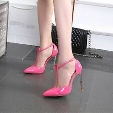 Womens Ladies Ankle Strap T-shape High Heel Court Shoes Pointed Heels Stilettos