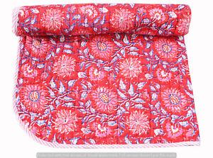 Baby Quilt Beautiful Floral Bedspread 100% Cotton Indian Handmade Machine Work