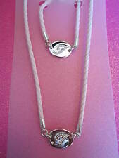 CRYSTAL INITIAL T PINK ROPE NECKLACE AND BRACELET SET