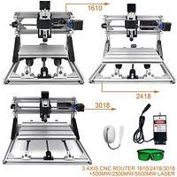 3 Axis CNC Router Kit 1610/2418/3018 + 500mw/2500mw/5500mw Laser Engraver AU