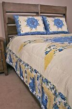 Queen Quilt Set Country Cottage Blue Yellow Star