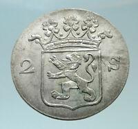 1791 Netherlands Dutch Republic Holland Antique Silver 2 Stuiver Coin i82445