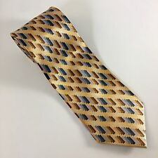 Adolfo Men's Neck Tie 100% Silk Blues/Beige/Gold Geometric
