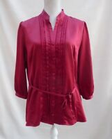 TU deep red satin/silk style 3/4 sleeve button through top Size 18
