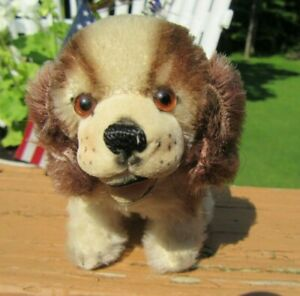 """Adorable Vintage Steiff Mohair 4"""" Cocker Spaniel Dog with Button & Pink Ribbon"""