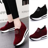 Hot Women Casual Platform Hidden Wedge Loafers Sneakers Slip On High Heels Shoes