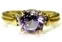 Amethyst & Diamond 9ct Yellow Gold ring size K ~ US 5 1/4