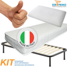 KIT MATERASSO H20 CM A MOLLE ORTOPEDICO + RETE A DOGHE + CUSCINO IN LATTICE 100%