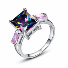Elegant 925 Sterling Silver Rainbow Mystical Topaz + Pink Sapphire Ring Size: 9