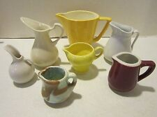 Vintage lot of 7 small china & pottery pitchers - Hall & unmarked Vgc