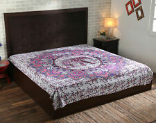 Mandala Multi Elephant Badsheet Tapestry Wall Hanging Decor Queen Size Bedspread
