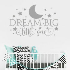 Dream Big Little One Wall Sticker Decal Quote Nursery Bedroom Baby Boy Kids Deco