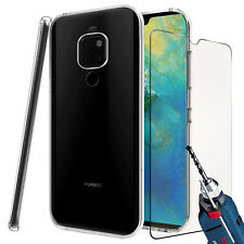 For Huawei Mate 20 (2018) - Tough Thin Clear TPU Gel Case Cover Skin & Glass