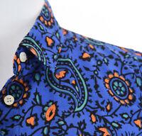 J Crew The Perfect Shirt Blue Paisley Print Button Up Shirt Colorful Womens Sz S