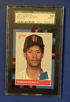 1988 Donruss Roberto Alomar SGC 92 Rookie Baseball Card #34 RC San Diego Padres