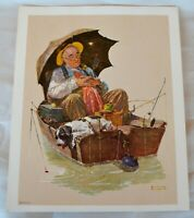 VTG NOS 1972 Norman Rockwell Print Grand Dad in Boat w Dog Fishing & Sleeping