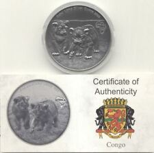 Congo 2012 1000 Francs AFRICA BABY LIONS 1 OZ Antique Finish Coin