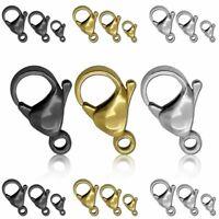 Edelstahl Karabiner Haken Halskette Schwarz Golden Silbern Öse Kettenverschluss