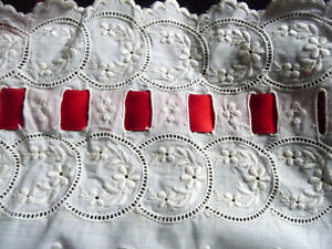 Most Exceptional All ANTIQUE Handembroidered Long + Large Coton Panel
