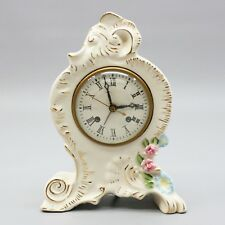 Vintage Coventry Ware Alarm Mantel Clock Electric Porcelain Roses GE Movement