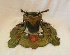 Antique Cast Iron Christmas Tree Stand Holder Holly Leaf Berry Poinsettia Signed