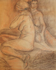 Large European pastel painting nudes